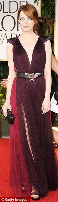 Emma Stone in Lanvin gown and sandals at the 2012 Golden Globes, January 2012
