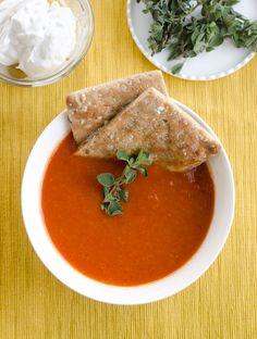 Easy Tomato Soup Topped With Coconut Milk Cream | www.chicandsugar.com