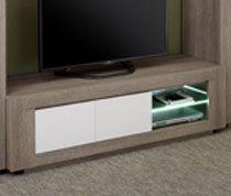 Meuble TV Blanc Laqué Brillant Et Couleur Bois PERGAME Meuble TV - Sofamobili meuble tv pour idees de deco de cuisine