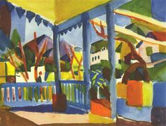 """August Macke (1887-1914), """"Terrace of the Country House in St. Germain"""""""