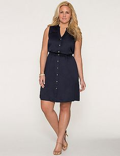 The perennial-favorite shirt dress gets a warm-weather update with smooth, silky construction and a sleeveless cut. The flattering silhouette makes the most of any figure with a notched neckline and elastic seamed waist. Metallic buttons add just a hint of modern shine.  lanebryant.com