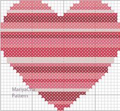 Little coral Heart cross stitch pattern needlepoint by MariyaCha, $4.00