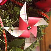 Easy Paper Pinwheel Christmas Ornaments from Better Homes and Gardens