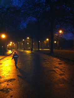 London - no gas lights but still atmospheric - Battersea Park at dusk.