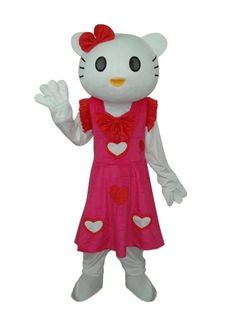 Female Hello Kitty in Red Dress Mascot Adult Costume