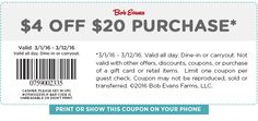 Pinned March 7th: $4 off $20 at Bob #Evans restaurants #coupon via The #Coupons App