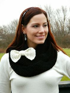 Black Infinity Scarf with Cream Bow Tie Clip