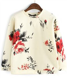 Fashion Pullover Flowers Printed Hoodies For Women