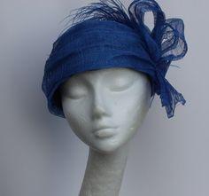 Royal blue turban hat sinamay women luxe millinery | purpleberry - Accessories on ArtFire