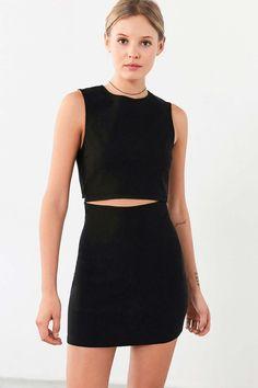 Lucca Couture Twill Slash-Waist Mini Dress