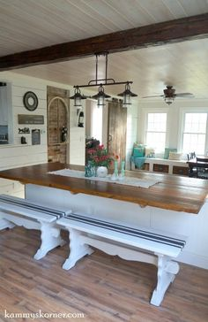17 4 Dining Room Remodel Using Reclaimed Wood After By Kammys Korner Featured On