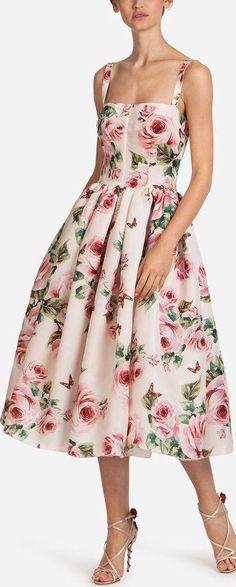 Rose-Print Fit & Flare Dress