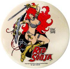 Gods of the Wasteland — Red Sonja button, Frank Thorne Fantasy Heroes, Fantasy Comics, Fantasy Girl, Red Sonja, Comic Book Artists, Comic Artist, Comic Books Art, Illustrations, Graphic Illustration
