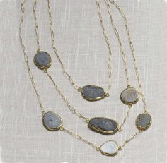 triple stranded river rock necklace