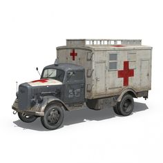 Opel Blitz - 3t Ambulance Truck - 11 PzDiv royalty-free 3d model - Preview no. 2