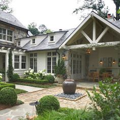 Country Manor - traditional - exterior - atlanta - Land Plus Associates, Ltd - Exterior Design Traditional Exterior, Traditional House, Traditional Landscape, Traditional Design, Outdoor Rooms, Outdoor Living, Indoor Outdoor, Outdoor Patios, Outdoor Kitchens