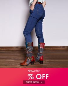 6cbb32efb7 Socofy SOCOFY Vintage Pattern Genuine Leather Splicing Jacquard Comfortable  Knee Boots is hot-sale. Come to NewChic to buy womens boots online.