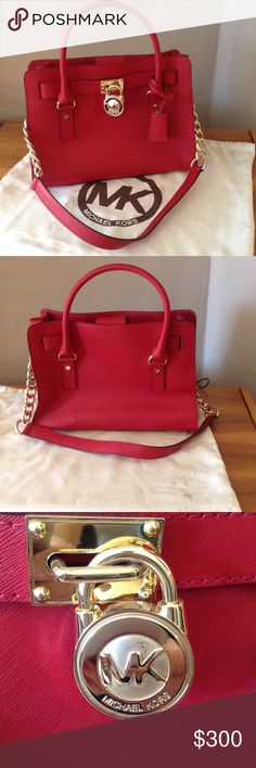 MICHAEL Kors Red Hamilton Saffiano Leather Satchel Very lightly used MICHAEL by Michael Kors RED Saffiano leather satchel with gold hardware (includes duster bag, which is slightly dirty as shown in the picture). This bold bag is perfect for the upcoming holidays, it features gold chain detailing and the prominent signature lock charm (working lock & key) at front to perfectly accent the satchels silhouette. Measures 9x13x6. Interior features 2 slip pockets, back wall zip pocket, and key…