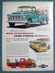 Original 1957 Chevrolet Pickup Truck Model 3200 Ad NEW TASK FORCE PICKUPS