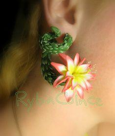 Jauge d'oreille - Boucles d'oreilles Faux gauge/jauge de faux / plug / faux piercing le cactus fleuri