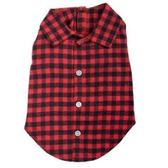 A comfy cotton brushed flannel shirt in red and black buffalo plaid for small to large dogs