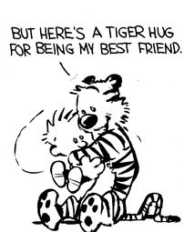 Calvin and Hobbes (DA) - Here's a tiger hug for being my best friend.