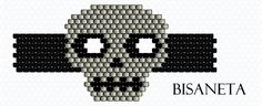 pattern for Peyote Skull Ring, Use bicones in eyes Peyote Stitch Patterns, Seed Bead Patterns, Beaded Jewelry Patterns, Loom Patterns, Beading Patterns, Peyote Beading, Halloween Beads, Halloween Jewelry, Earrings