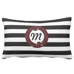 Roses and Stripes Monogram Decorative Pillow