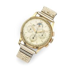 Universal Geneve. An 18K gold manual wind triple calendar chronograph bracelet watch with moon phase Tri-Compax, Ref:12295, Case No.1446929, Circa 1950