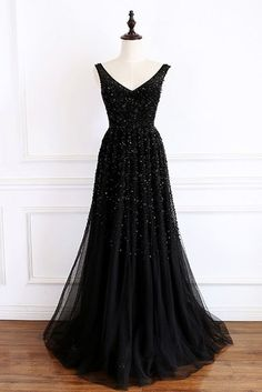 V-Neck Evening Dress Prom Gowns Black Prom Dresses from CocoFashion – Tanzschule Kleider Black Evening Dresses, Black Prom Dresses, Pretty Dresses, Beautiful Dresses, Formal Dresses, Dress Black, V Neck Prom Dresses, Grad Dresses, Prom Gowns