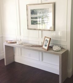 WHITE + GOLD - cover an IKEA MALM entryway table with grasscloth wallpaper. Definitely doing this!