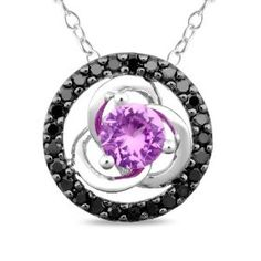 """10k White Gold, Black Diamond and Created Pink Sapphire Pendant with Chain,(.25 cttw), 17"""", (diamond stud earrings, earrings, amethyst, bjrsr, blue jade, necklace, silver, jewelry)"""