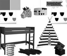 Black & white kinderkamer, zwart wit kinderkamer, hippe kinderkamer, hippe jongenskamer White Wood, Black And White, Cool Kids Rooms, Kidsroom, Google, Pregnancy, Room Ideas, Sleep, Babies