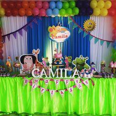fiesta babytv, babytv party Baby Tv Cumpleaños, Baby Tv Cake, Barbie Em Paris, Diy Backdrop, Boy First Birthday, Backdrops For Parties, Birthday Party Themes, First Birthdays, Bambam