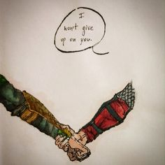 """I won't give up on you"" Thorki is the way  (china and watercolors) My drawing."