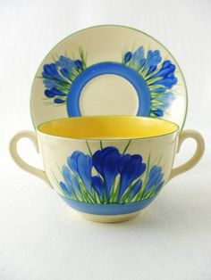 Clarice Cliff Blue Crocus Soup Bowl with Stand