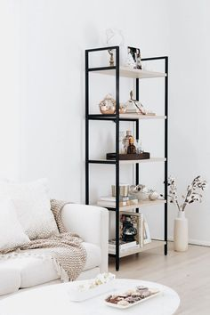 soo classy! | open shelving living room family room home inspiration, house, living space, room, scandinavian, nordic, inviting, style, comfy, minimalist, minimalism, minimal, simplistic, simple, modern, contemporary, classic, classy, chic, girly, fun, cl