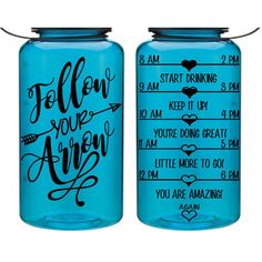 21 Day Fix Bottle Water Intake Bottle Follow Your Arrow Motivational... ($19) ❤ liked on Polyvore featuring home, kitchen & dining, aqua, drink & barware, drinkware, home & living and water bottles & vacuum flasks