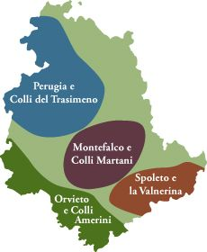 Umbria Wine Tours, map of the four micro areas of Umbria