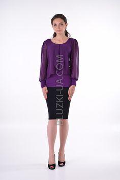 89d118f2750 Фиолетовая блуза с прозрачным епископским рукавом и очаровательными  шифоновыми драпировками