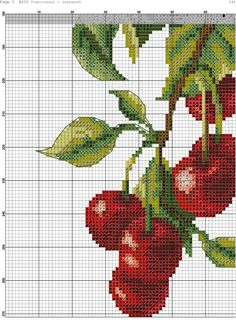 h 7 Cross Stitch Fruit, Cross Stitch Kitchen, Cross Stitch Rose, Cross Stitch Flowers, Embroidery Art, Cross Stitch Embroidery, Cross Stitch Patterns, Flowers For You, Crochet Cross