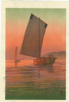 Ito Yuhan Japanese Woodblock Print Sunset Sail 1930s   eBay