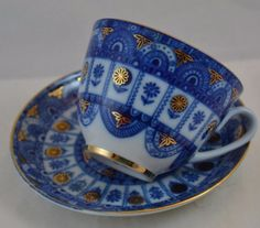 Vintage USSR Imperial Lomonosov Cup Saucer Russia Blue Gold Arches