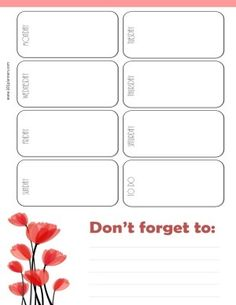 weekly calendar with white background and red tulips in the bottom left corner Free Printable Weekly Calendar, Excel Calendar Template, Weekly Planner Template, Online Calendar, Free Calendar, Gantt Chart Templates, Appointment Calendar, Creative Calendar, Custom Calendar