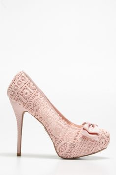 Cotton Lace Bow Heels