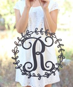 Black Ornate Frame Initial Wall Sign