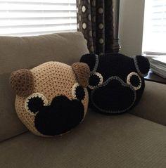 Crochet #pug Pillow by PeanutButterDynamite on Etsy