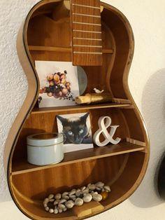 Guitar shelf Guitar Shelf, Music Wall Decor, Guitars, Bookcase, Shelves, Life, Home Decor, Room Decor, Book Shelves