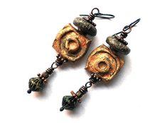 Rustic Primitive Earrings, Earthy Boho Jewelry, Ancient Wire Wrapped Earrings, Boho Chic Gypsy Jewelry, Bohemian Niobium Earrings