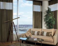 beautiful, modern drapes with contrasting sheer fabric